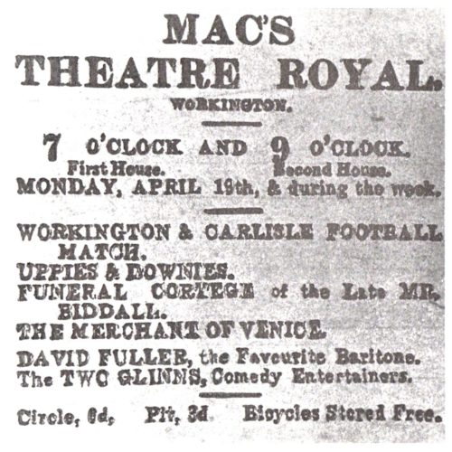 Here Is Anadvertfor MAC'S THEATRE ROYAL Circa 1920. As The Advert Shows That Particular Week There Were Four Films Supported By DAVID FULLER, A Favourite Baritone And The TWOGLINNS, Comedy Entertainers