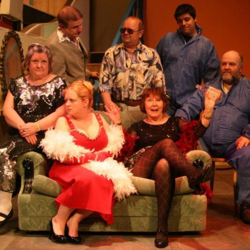 "The Cast Of ""The Rise And Fall Of Little Voice"" Standing: Ian Hinde, Mike Savage And David Bird Seated: Val Brown, Charlie Douglas- Brown, Jenni Rushton And Morgan Sweeney"