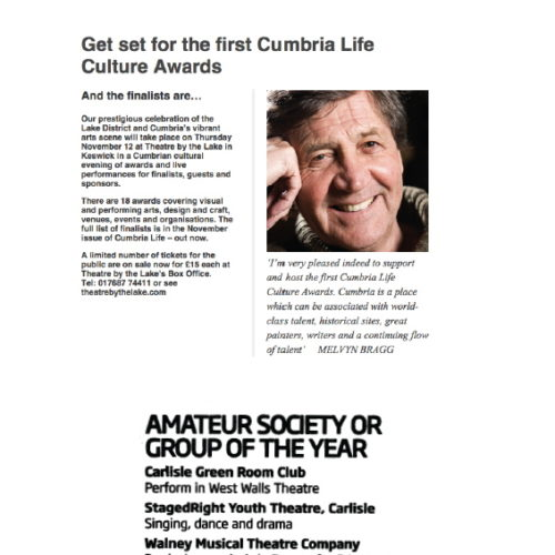 Cumbria Life Culture Awards -UPDATE - StagedRight Youth Theatre Won The Award. Well Done!
