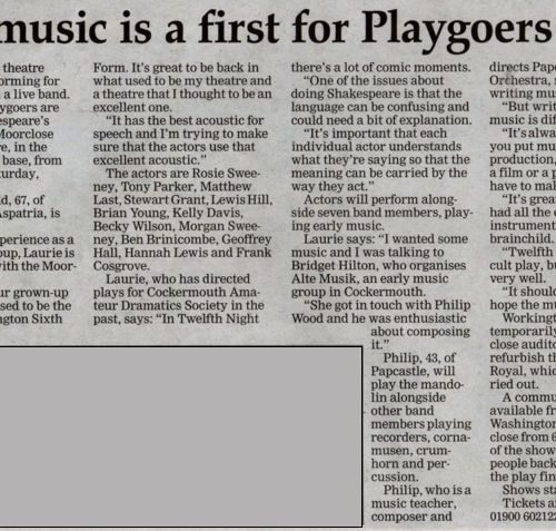 Live Music Is A First For Playgoers - Friday 2nd October 2015 Times And Star - Not Quite True!