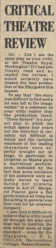 Reply To The Times And Star Critic By A Member Of The Audience