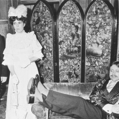 Philip Heal As John Worthing , With Julia Walling As Gwendoline, While Stretched Out Taking Matters Easy Is Bob Johnson As Algernon