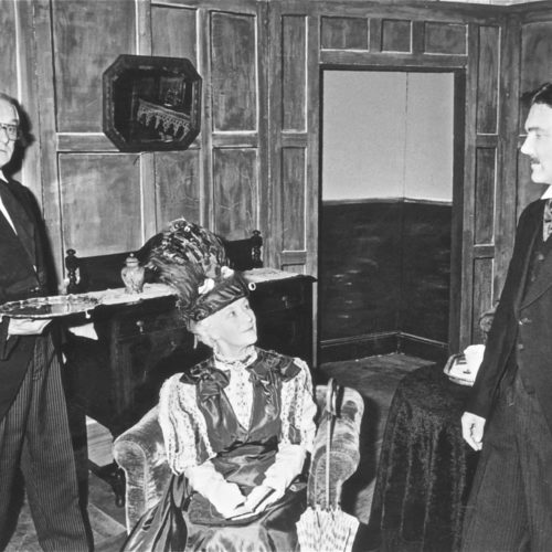 Ted Younghusband As Lane, Marjorie Hool As Lady Bracknell And Philip Heal As John Worthing
