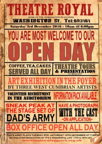 Theatre Royal Workington. Open Day 3rd December Theatre Royal Workington - Open Day Saturday 3rd Dec, 2016