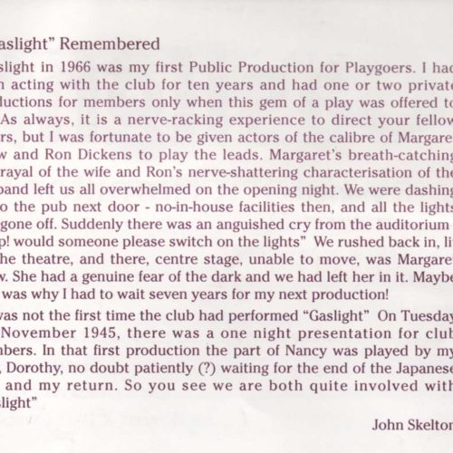 Gaslight Remembered By John Skelton (Diamond Jubilee Brochure 1995)