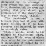 Letter To The Editor 19th December 1953 RE: Review Of The Anatomist