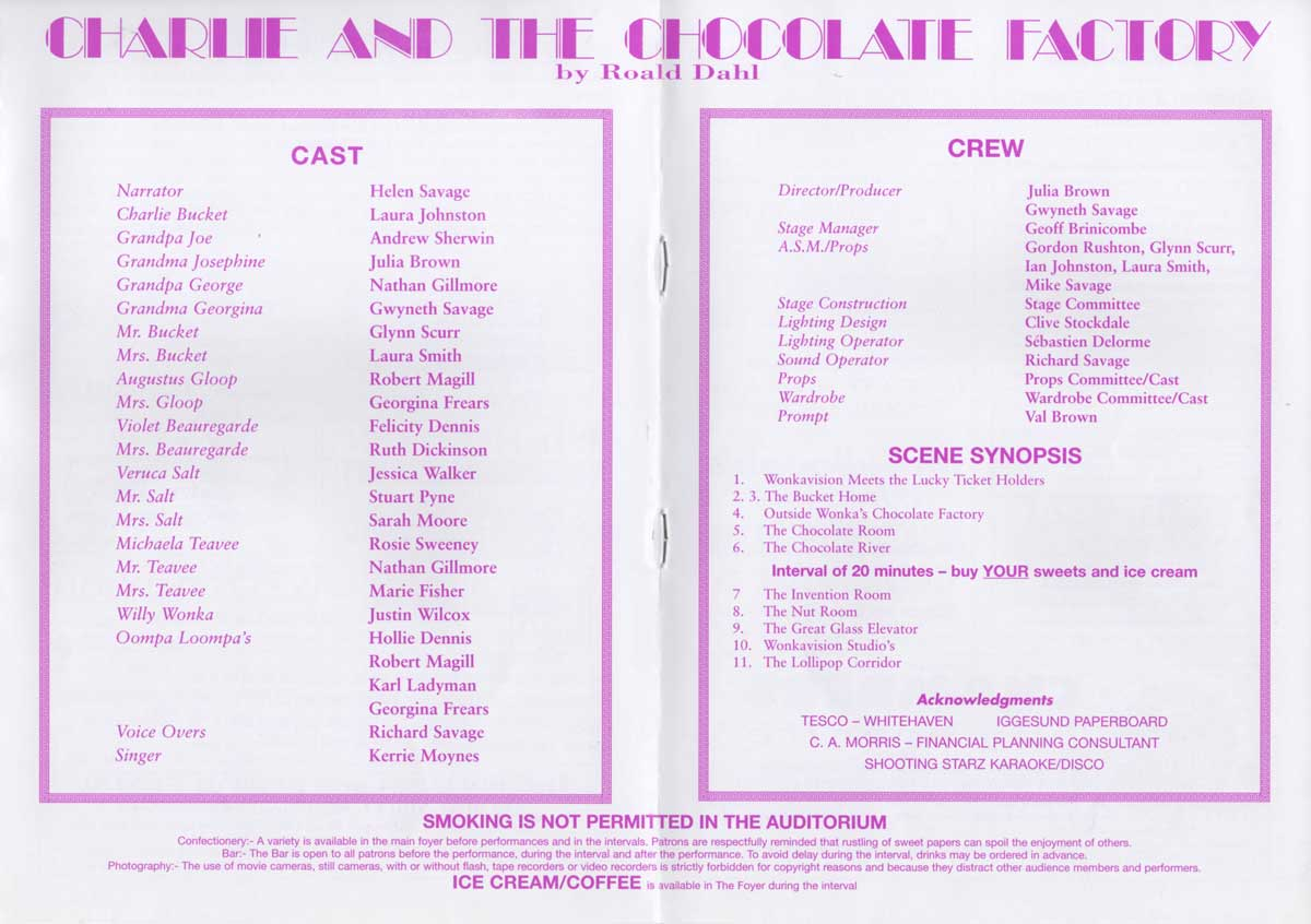 1999 May Charlie and The Chocolate Factory (Playgoers Youth Theatre