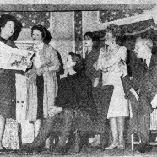 Checking The Radio Item Are L/R Beatrice (Gwen Waite, Miss Hatfield (Mary McGukin), Miss Parry (Virginia Roy), Maid (Dorothy Powers, Lady Alice (Barbara Hunter And Brigadier (John Gale)