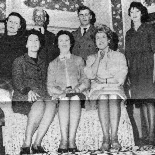 L/R Seated, Gwen Waite, Mary McGukin And Barbara Hunter. L/R Standing, Virginia Roy, John Gale , Philip Heal And Dorothy Powers