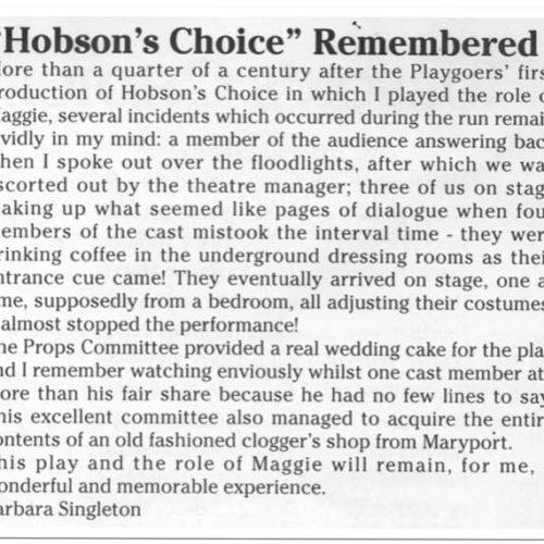 Barbara Singleton Remembers Hobson's Choice 1969 ( Diamond Jubilee Brochure 1995)