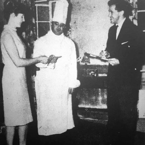 Army Chef Pte. Willie Maltravers (Les Dixon) Receives A Month's Pay From Lady Fitzadam (Jean Evans)with Corporal Green Keeping Accounts