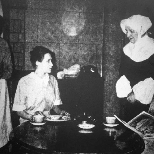 Having Tea Are Nurses Brett (Dorothy Powers) And Phillips (Betty McLaughlin) Watched By Martha (Elizabeth Gale) And Sister Josephine (Ann Johnson)