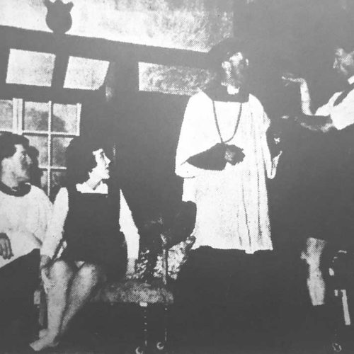 The VIcar In Emergency Attire Asks The Rev. Humphrey (I. Mc C. Bell) To Help Him Check His Pools In The Potting Shed, Watched By Willie D.A. Collins) And Ida