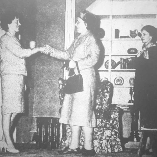 Mrs Karen Holt (Marjorie Hool) Says Good-bye To Miss Cunningham (Audrey Chandler), Watched By The Maid Stella (Patricia Donaldson)