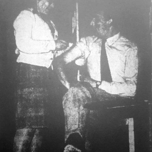 Dr. Wooley (Audrey Chandler) Vaccinates Clive Rodingham (R. Yowart)