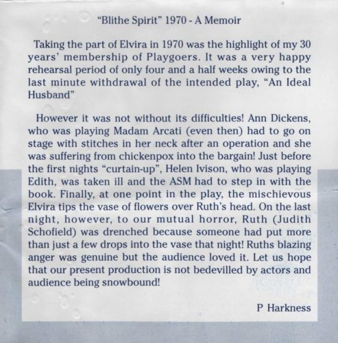 Blithe Spirit Remembered By Pauline Harkness